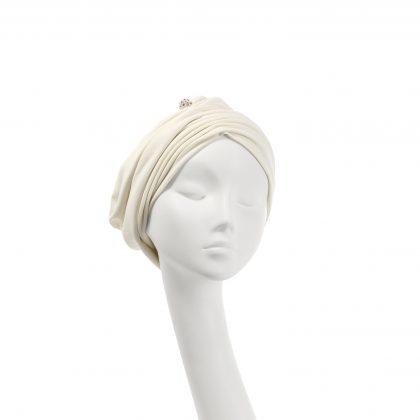 Nerida Fraiman - Cotton jersey Mounira turban in ivory with diamanté globe detail