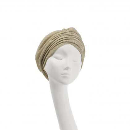 Nerida Fraiman - Cotton jersey Mounira turban in pale gold stretch lurex with diamanté globe detail