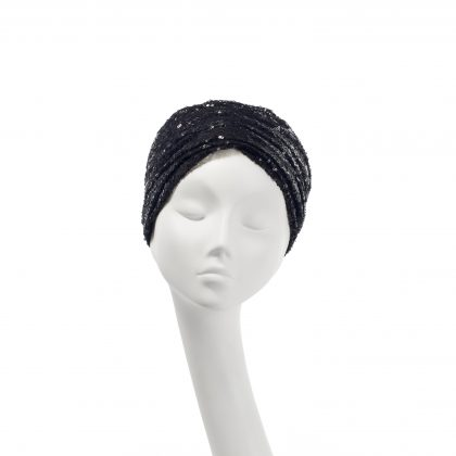 Nerida Fraiman - Black sequin tulle Aisha turban