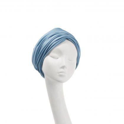 Nerida Fraiman - Luxury pure gossamer lined silk Aisha turban in shark blue