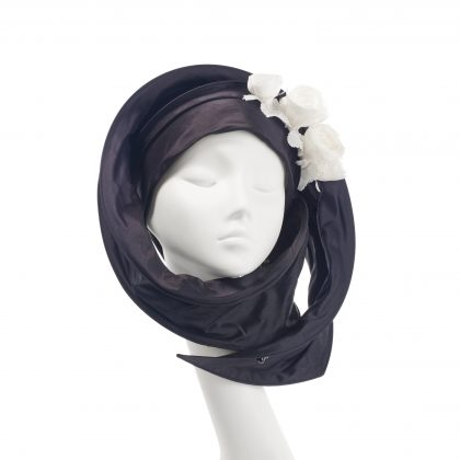 Nerida Fraiman - Multiway wrap hijab in bias-cut silk Dupion with hand sewn corsage