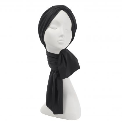 Nerida Fraiman - Multiway scarf eco-turban in luxury sustainable fabric in black-black