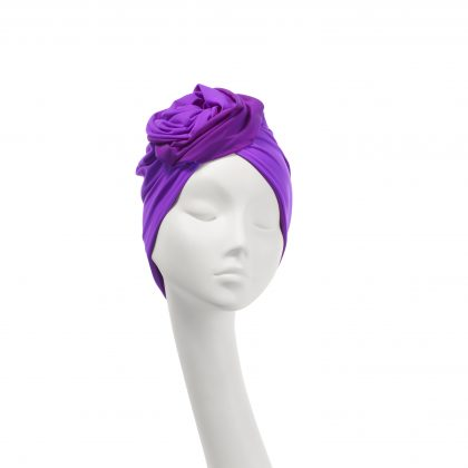Nerida Fraiman - Two-tone signature Rose turban in jam-purple
