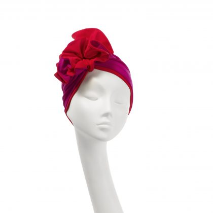 Nerida Fraiman - Two-tone signature Ruffle turban in fuchsia-red