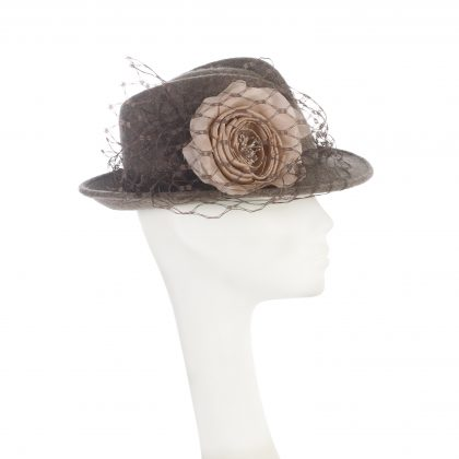 Nerida Fraiman - Wool felt city trilby with nude pink rose and waffle veil