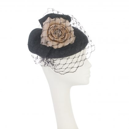 Nerida Fraiman - Charcoal wool felt blocked bow beret with nude pink rose and waffle veil