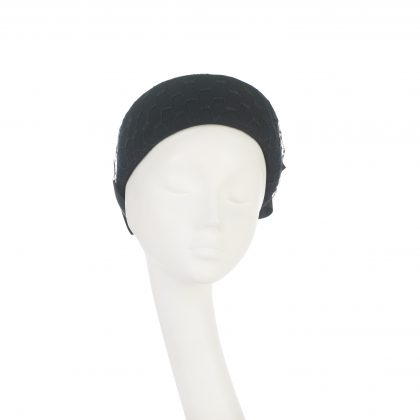 Nerida Fraiman - Jackie-O wool felt pillbox with waffle veil and vintage petersham bow