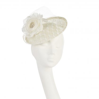 Nerida Fraiman - Winter white bridal siname disk with waffle and vintage veiling and rose detail