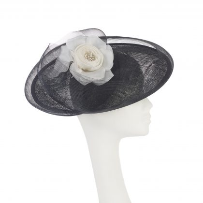 Nerida Fraiman - Siname straw crin swirl statement hat in true black with rose detail in winter white