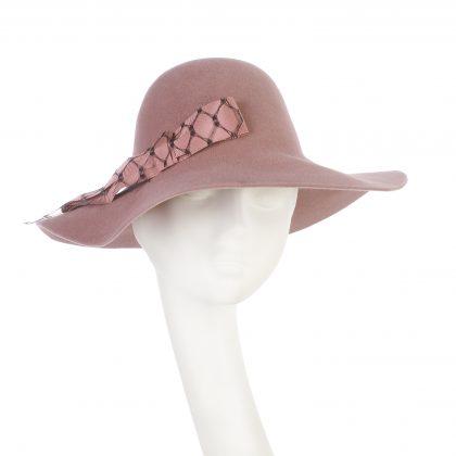 Nerida Fraiman - Blush pink Boho in sumptuous soft felt with petersham and waffle veil bow detail