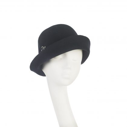 Nerida Fraiman - Luxury soft felt pinched upbrim cloche in ink with diamonte bow detail