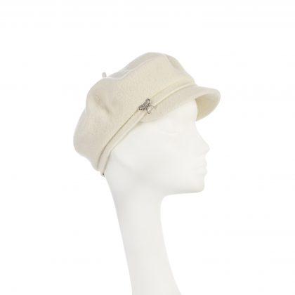 Nerida Fraiman - Pure wool classic Gavroche in cream with diamonte bow trim