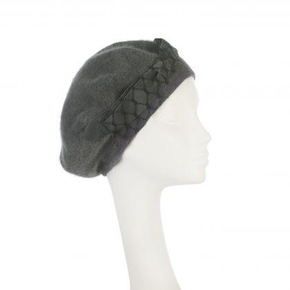 Nerida Fraiman - Voluminous lined Angora beret in slate grey with petersham bow and waffle bow trim