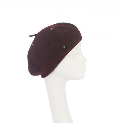 Nerida Fraiman - Classic beret in pure burgundy wool with mini-heart diamonte details