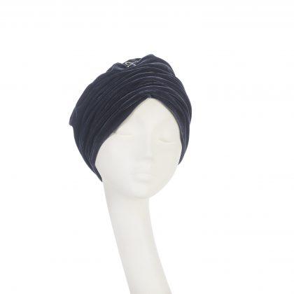 Nerida Fraiman - Gathered velvet Mounira turban in slate with diamonte bow detail