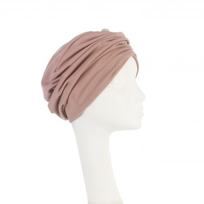 Nerida Fraiman - Mid-season crepe Mounira in dusky pink with diamonte globe button
