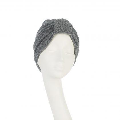 Nerida Fraiman - Day-to-evening Naomi turban in antique silver soft stretch lurex