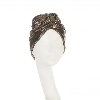Nerida Fraiman - Hollywood Rose turban in antique copper stretch lamé