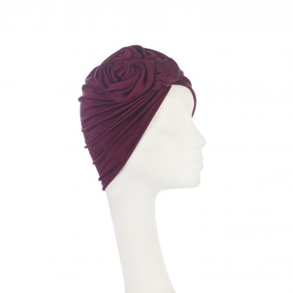Nerida Fraiman - Luxury superfine silk jersey Rose turban in burgundy