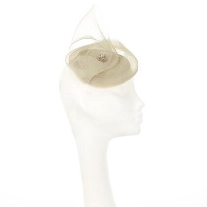 Nerida Fraiman - Sculptural mini crin bridal swirl in double cream with diamonté button