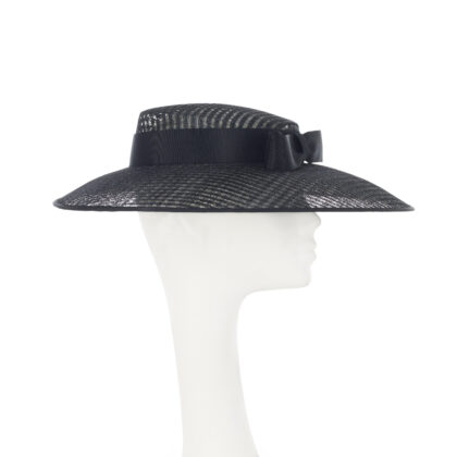 Nerida Fraiman - True black Audrey picture hat with Givenchy style petersham bow