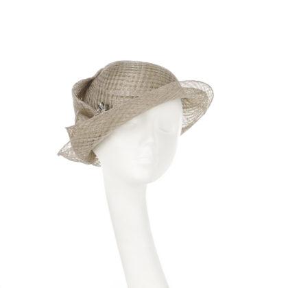 Nerida Fraiman - Signature Nerida Fraiman unstructured cloche in warm grey basket weave with dark crystal dragonfly brooch