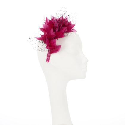 Nerida Fraiman - Fuchsia headband with hand cut feathers and crystal embellished black veiling
