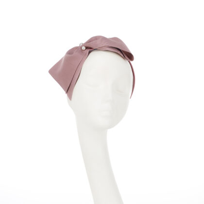 Nerida Fraiman - Classic chic vintage grosgrain oversize bow Emily in Paris headband in dusky pink with pearl detail