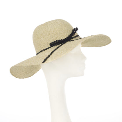 Nerida Fraiman - Natural seagrass wide brim sunhat with zig zag bow detail in black