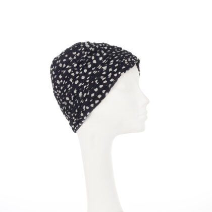 Nerida Fraiman - Sheika Moza style turban self-lined in luxury pure Japanese cotton in black and ivory print