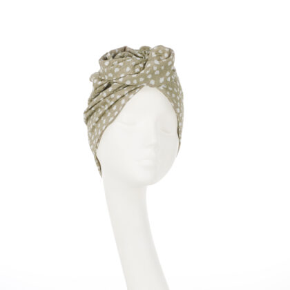 Nerida Fraiman - Rose turban in luxury pure Japanese in sand and ivory cotton print self-lined