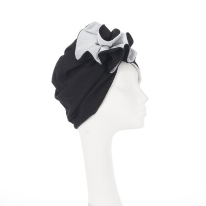 Nerida Fraiman - Luxury Japanese pleated cotton ruffle self-lined turban in black and white