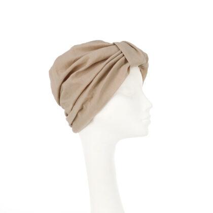 Nerida Fraiman - Nude self-lined Naomi turban in luxury Japanese pleated cotton
