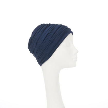 Nerida Fraiman - French navy self-lined Sheika Moza style hijab in luxury silk jersey with silk lining