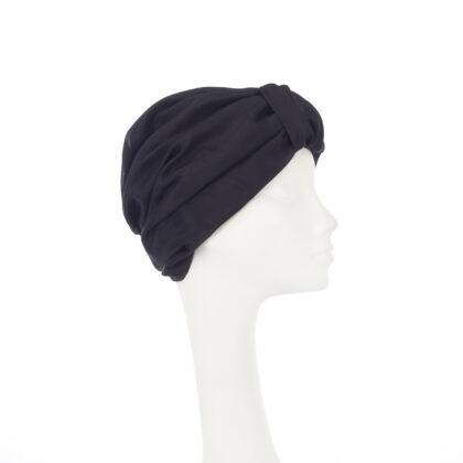 Nerida Fraiman - Superfine lightweight habotai silk pure black Naomi turban with silk lining